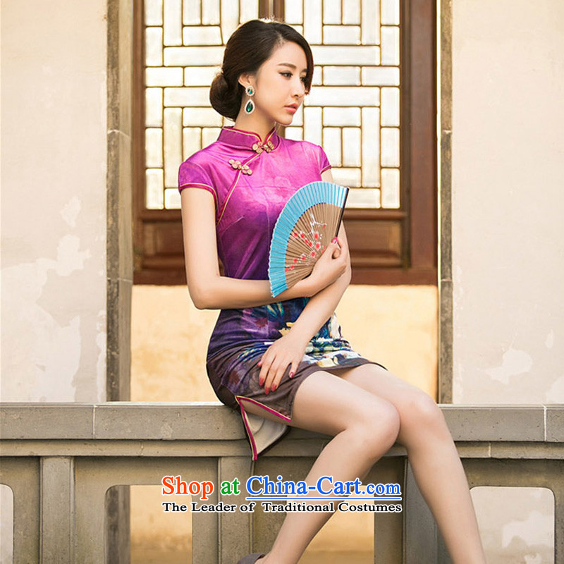 With a爊ew 2015 Chinese cheongsam dress Kim velvet dresses spring improved Stylish retro look like short sleeve female qipao better red燬