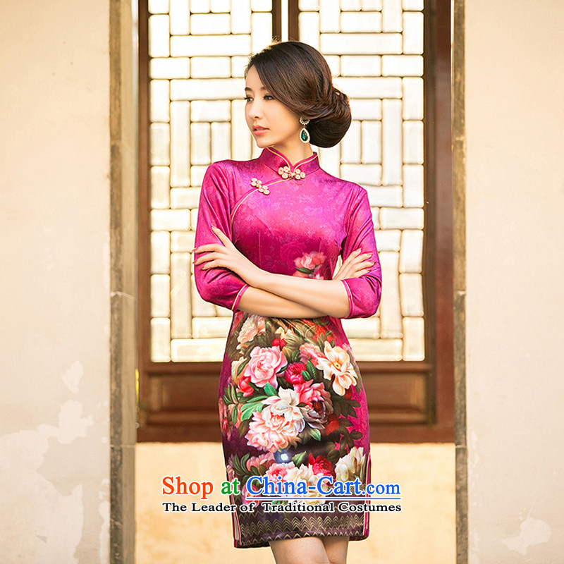 With a new Chinese ethnic 2015 new women's gold velour cheongsam dress stylish improvements Sau San retro short of Qipao燲XL