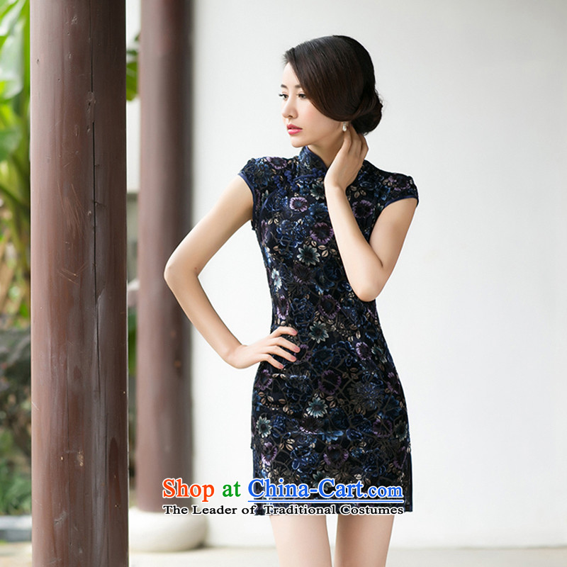 With a Chinese? Spring 2015 new women's skirt Fashion Sau San qipao scouring pads improved retro short-sleeved qipao?M