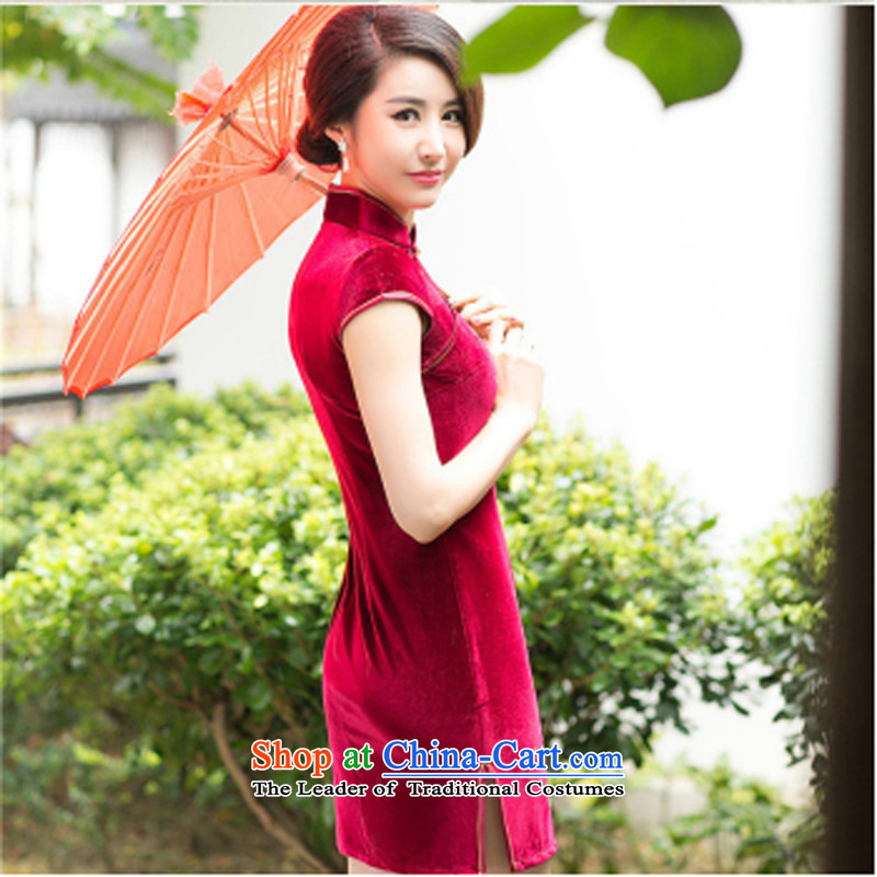 With the Chinese? New Year 2015 Spring temperament embroidery qipao Stylish retro-day   improved elegant qipao red velvet?M