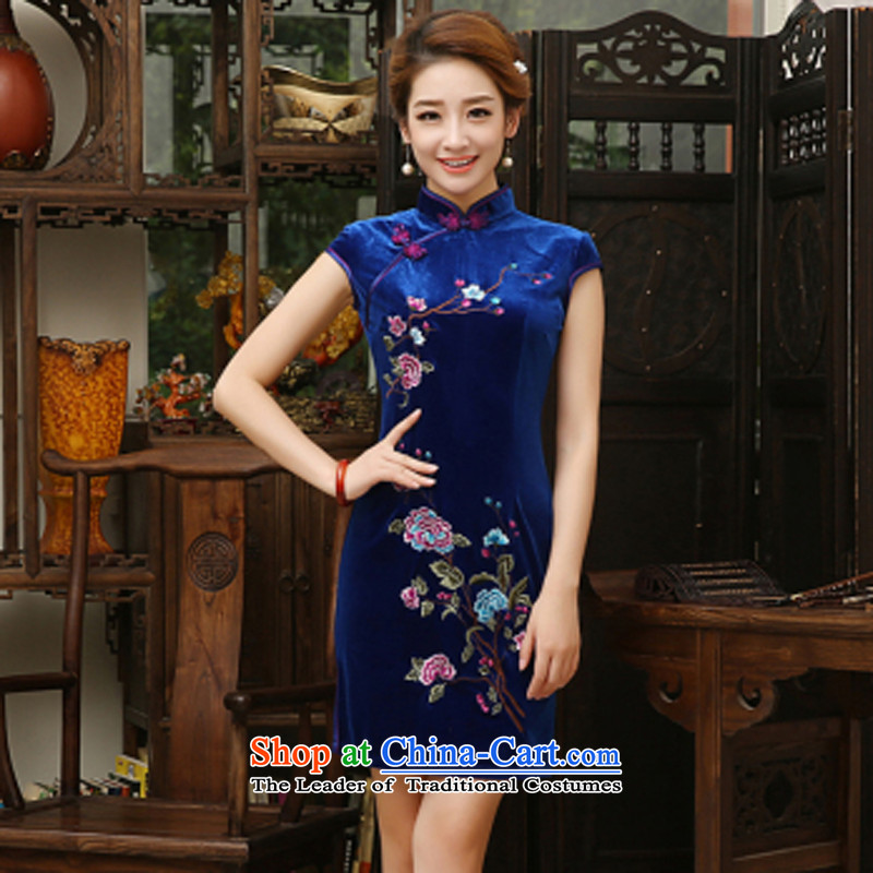 With a Chinese?Spring 2015 New Stylish retro color embroidery cheongsam daily short of Sau San temperament velvet cheongsam dress royal blue?XL