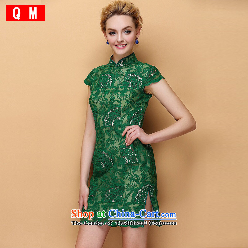 The end of the shallow engraving embroidery cheongsam dress the Sau San improved stylish燲WG牋XXXL green