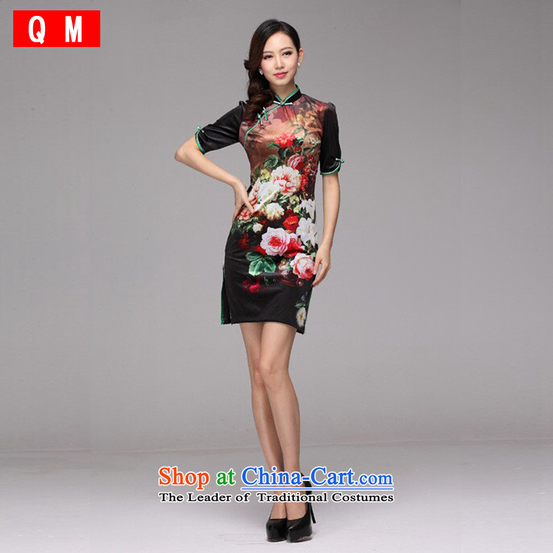 At the end of light gray velour stamp improved retro style, short-sleeved qipao?XWG)?picture color?XXL
