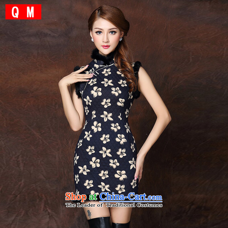 The end of the light of improved gross spell stylish sleeveless clip cotton not open's short qipao? XWGQF141015?picture color?L