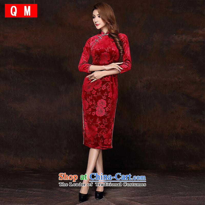 At the end of light and Stylish retro-improved 7 Long qipao燲WGQF141008 cuff velvet牋XXXXL red