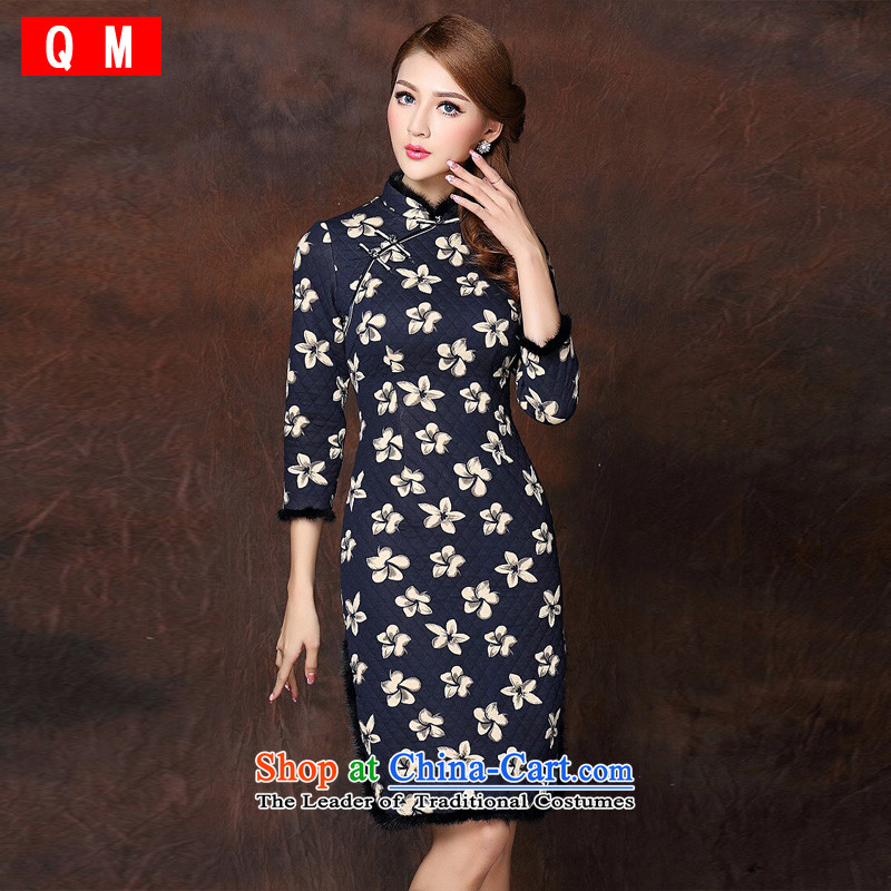 At the end of light and Stylish retro-spell improved gross seven long-sleeved cotton qipao�XWGQF141010 folder�picture color�XL