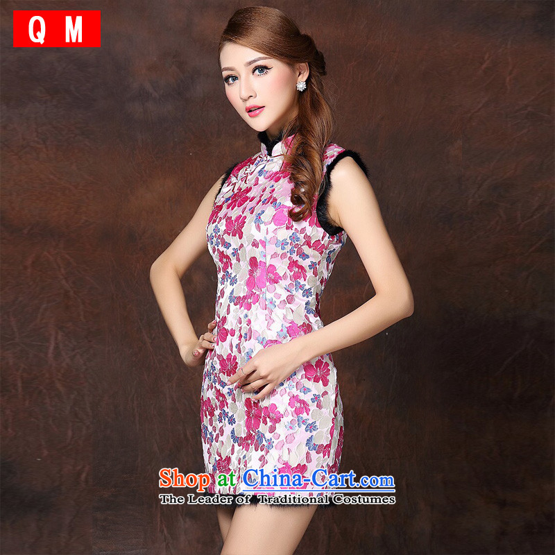 The end of the light of improved stylish sleeveless folder not open cotton Ms.'s skirt�XWGQF141014 qipao�better red�XL