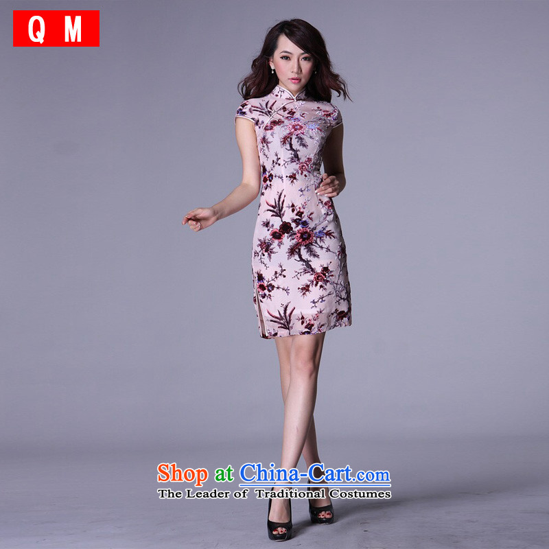 At the end of light and stylish retro improved short of Chinese Silk Cheongsam herbs extract燲WG爌icture color� XL