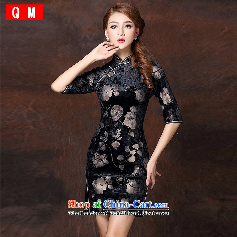 At the end of non-stamp improved Stylish retro 7 cuff short qipao� XWGQF141003 velvet爌icture color� L