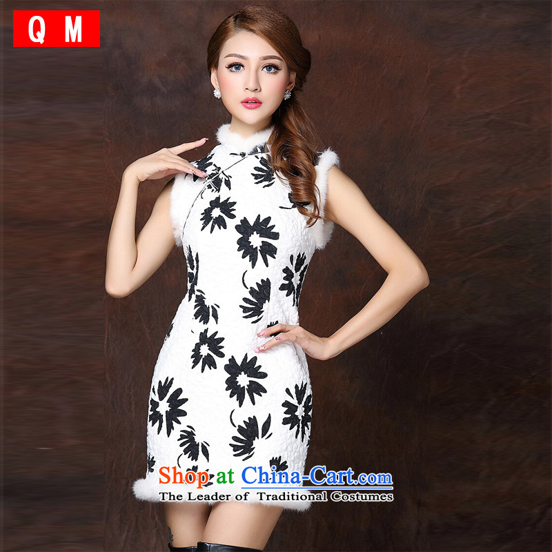 The end of the light of improved gross spell stylish sleeveless clip cotton not open's short qipao?XWGQF141011?picture color?XL