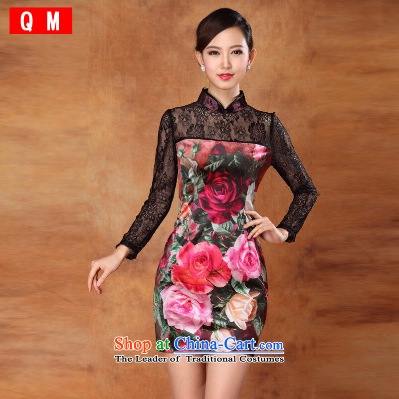 At the end of light and sexy lace scouring pads stamp and the relatively short time, improved long-sleeved cheongsam dress banquet dress燲WGL2013-33爌icture color燬