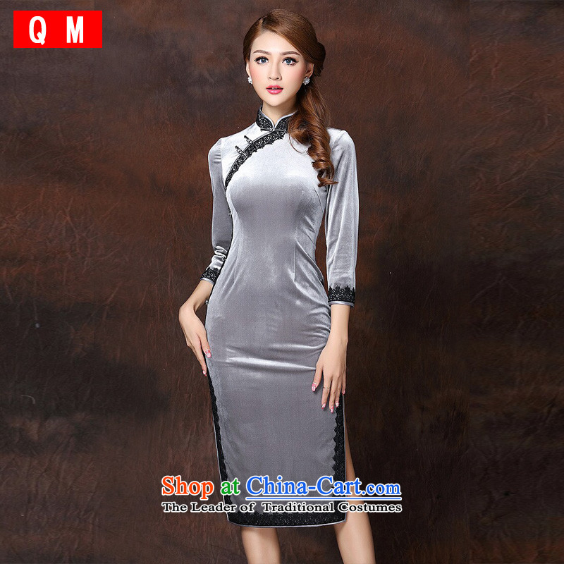 The end of the shallow lace stitching improved Stylish retro-cashmere long qipao XWGQF141006 picture color燲L