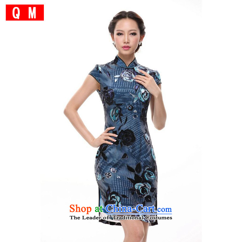 At the end of light and stylish retro Chinese Silk Cheongsam improved skirts�XWG�BLUE�L