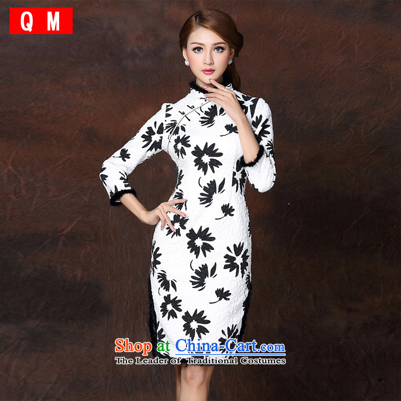 The end of the light of improved gross seven stylish spelling the folder unit long-sleeved qipao  XWGQF141009 picture color L