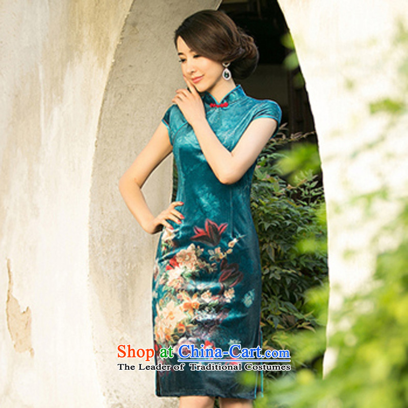 With a Chinese�Spring 2015 new improved retro qipao everyday low-rise of the forklift truck cheongsam dress light blue�L