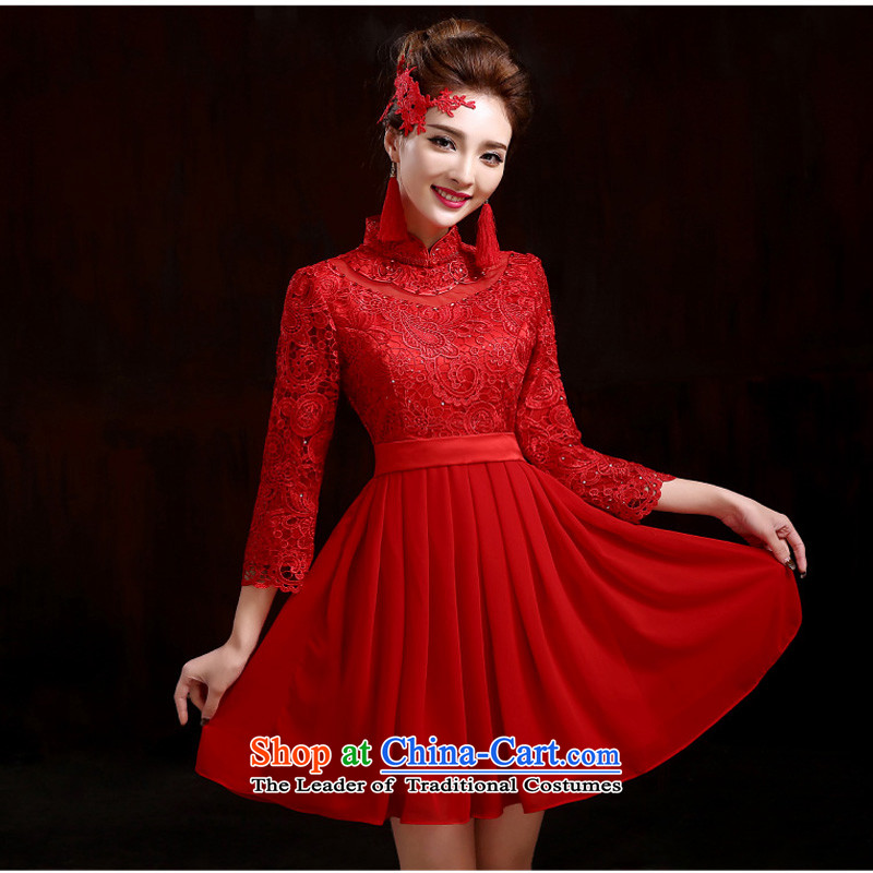 The new winter cheongsam lace red bows service of marriage bride evening dresses 9 cuff cheongsam red S