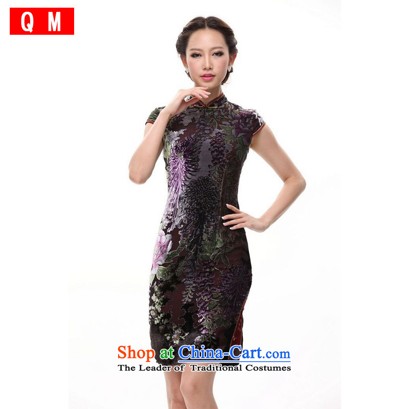 The end of the light of improved silk retro style large sauna silk cheongsam dress�XWG mother�picture color�M