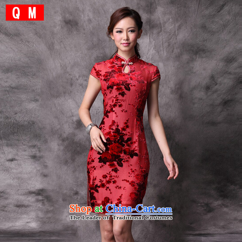 At the end of light red married women dress autumn Stylish retro qipao?XWG improved??XXXL red