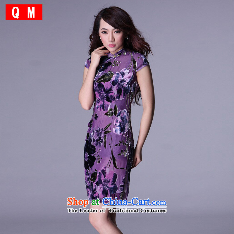 At the end of the summer of light and stylish retro short improvement of Chinese herbs extract XWG qipao bows purple M