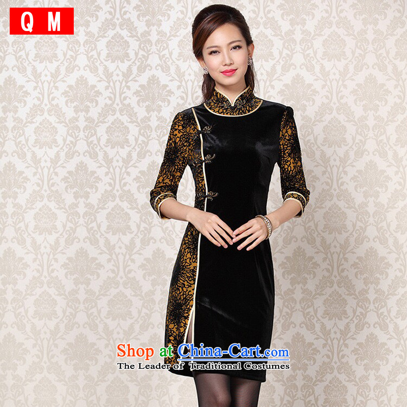 At the end of light and Stylish retro-cashmere improvements in the stitching short-sleeved qipao XWGQF13-6092 picture color L