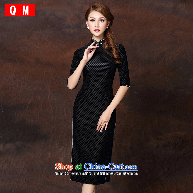 At the end of light and stylish retro long) Improved elegance velvet cheongsam dress?XWGQF141007?black?L