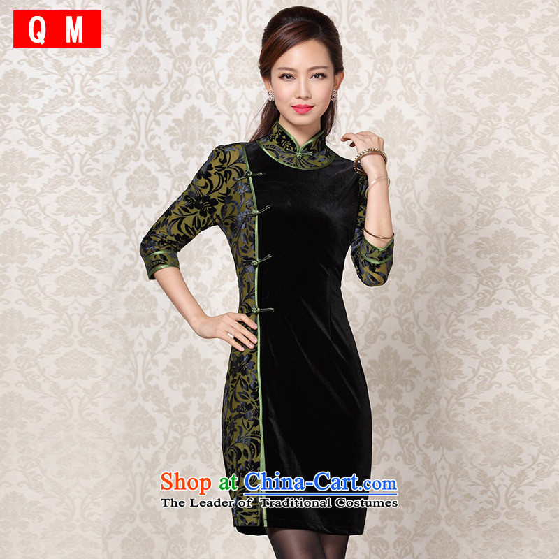 At the end of light and Stylish retro-cashmere improvements in the stitching short-sleeved qipao�XWGQF13-6091�picture color�M