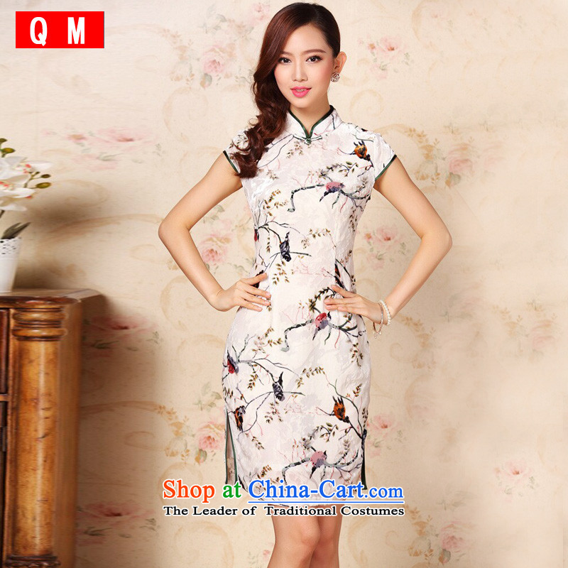 At the end of light and stylish retro improved silk herbs extract routine Leisure Short qipao聽XWG QF1305-1聽聽XXXL color picture