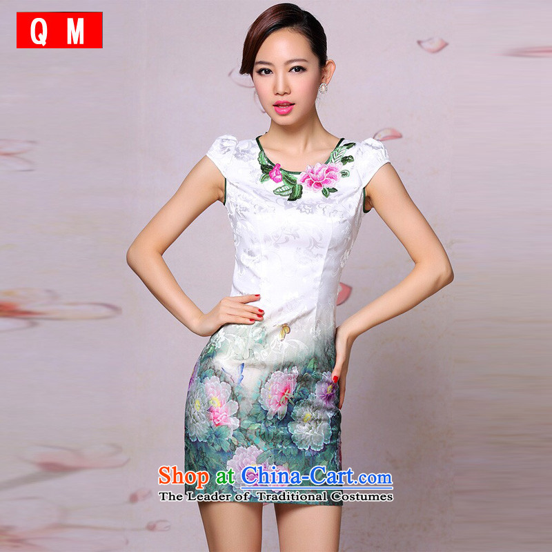 At the end of light and stylish cheongsam dress improved retro embroidered short cheongsam Dress Casual Day-to-day�XWGQP201304-19�picture color�XXL