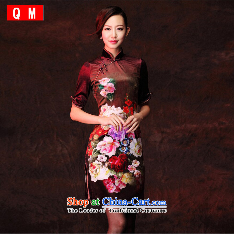 At the end of light gray velour stamp improved retro style qipao) in the day-to-day short-sleeved?XWGQP1208-26?picture color?M