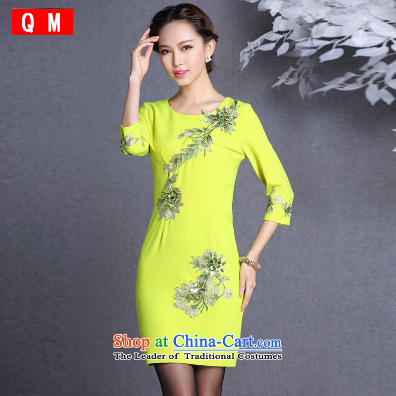 At the end of light and stylish embroidery in improved short-sleeved qipao�XWGQF1309-13�Yellow�XL