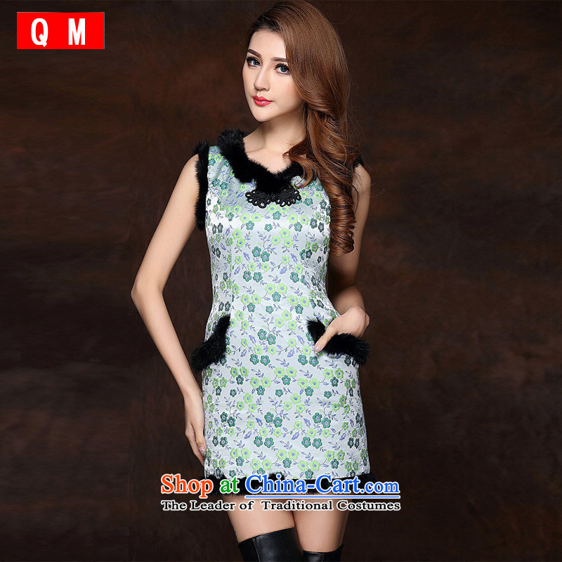 The end of the light of improved gross spell stylish sleeveless clip cotton not open's short qipao?XWGQF141012?fruit green?XXL