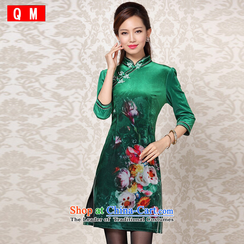 At the end of light and stylish retro scouring pads stamp dual chancing short-sleeved qipao�XWGQF13-26��XXXL Jade Green