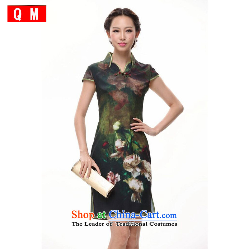 The end of the light of improved ink peony cheongsam dress retro Dress Short of Chinese�XWGQP002-5�GREEN�M