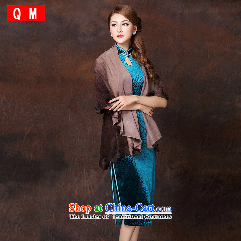 At the end of light female qipao accessories gradient stereo gross ball cloak batch shoulder� XWGQF141016燘rown