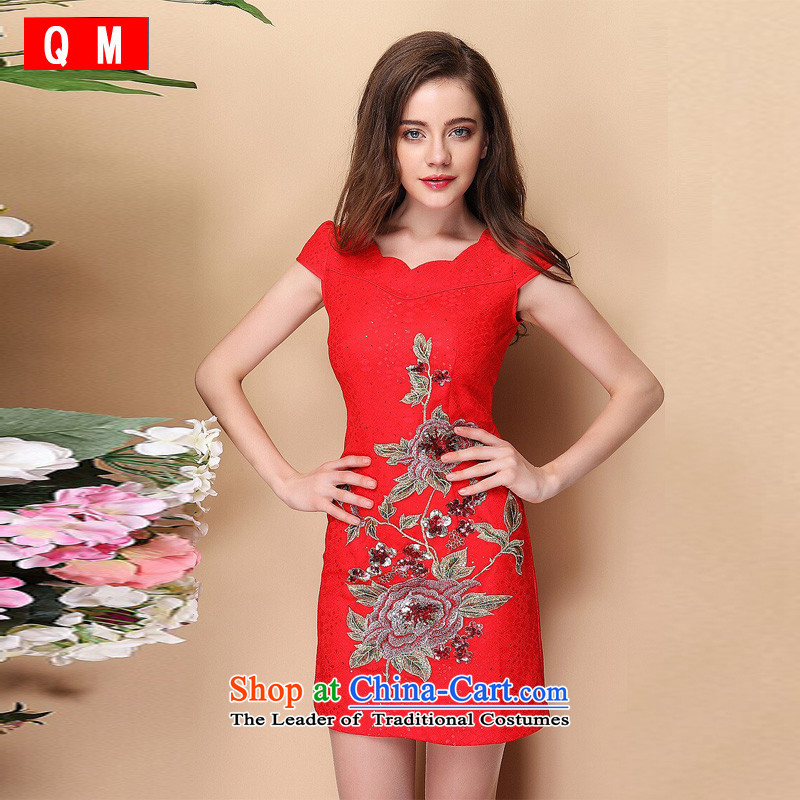 At the end of light and stylish improved short-sleeved Lace Embroidery cheongsam dress on-chip?XWG QF140312?RED?XXL