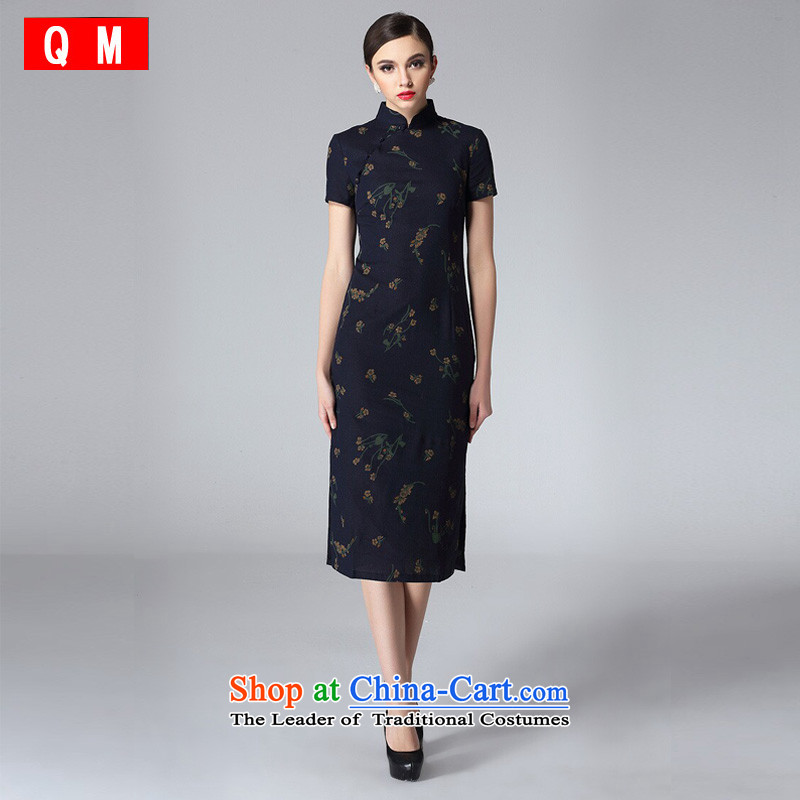 The end of the light of nostalgia for the flax long qipao stylish improved daily short-sleeved cheongsam dress Tang Dynasty of Korea�XWGQF8811�black�M
