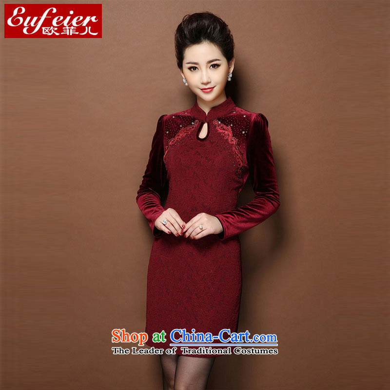 Install the latest autumn and winter EUFEIER2014_ scouring pads cheongsam dress female Sau San video thin C.O.D. RQ321 wine red燲L