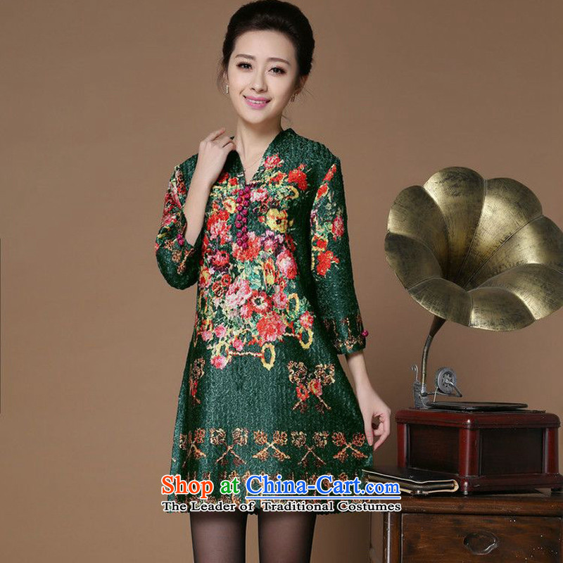 Spring 2015 narcissus forest on the elderly in the new mother replacing creases wind ajar for Silk Cheongsam Tang dynasty dresses XYY-1286-1�XXXXL green