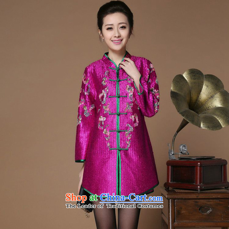 Spring 2015 narcissus forest on a new liberal larger Mock-neck creases Tang dynasty single row detained in floral stamp older qipao jacket XYY-8501 enumeration purple XL