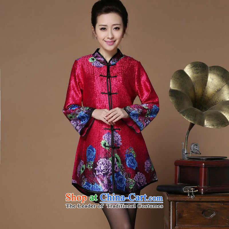 Spring 2015 forest narcissus on new collar saika creases Tang dynasty attired in older MOM pack dress jacket XYY-8502 rose red�XXL