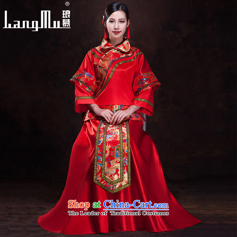 The?new 2015 Luang Sau Wo Service bridal dresses bows services marriage red Chinese style wedding dress-soo and long-sleeved qipao?S