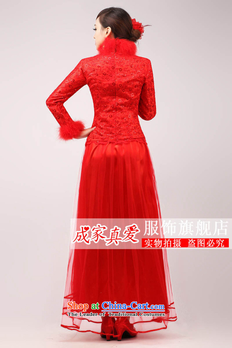 The knot true love marriages qipao 2015 new stylish Chinese improved bows long long-sleeved clothing red dress for Winter Female Red L picture, prices, brand platters! The elections are supplied in the national character of distribution, so action, buy now enjoy more preferential! As soon as possible.