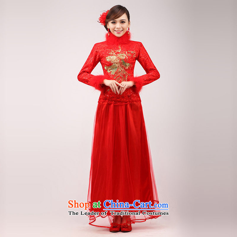 The knot true love marriages qipao 2015 new stylish Chinese improved bows long long-sleeved clothing red dress for Winter Female Red hair, L Chengjia True Love , , , shopping on the Internet