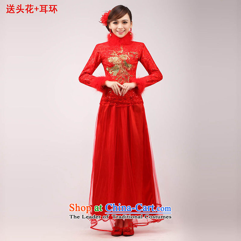 The knot true love marriages qipao 2015 new stylish Chinese improved bows long long-sleeved clothing red dress for Winter Female Red hair , L Chengjia True Love , , , shopping on the Internet
