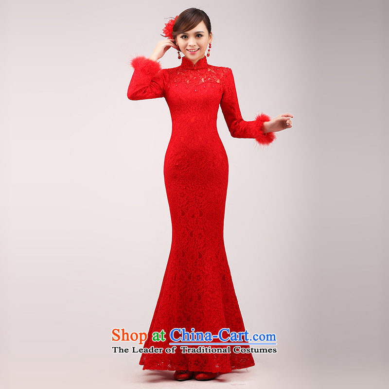 The knot true love bride bows services 2015 new stylish red wedding dress, the length of the improvement of Chinese qipao winter RED燤 crowsfoot