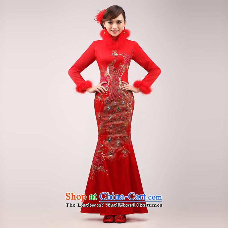 Marriages bows services 2015 new stylish red long gown Chinese qipao winter clothing girls improved red?XL