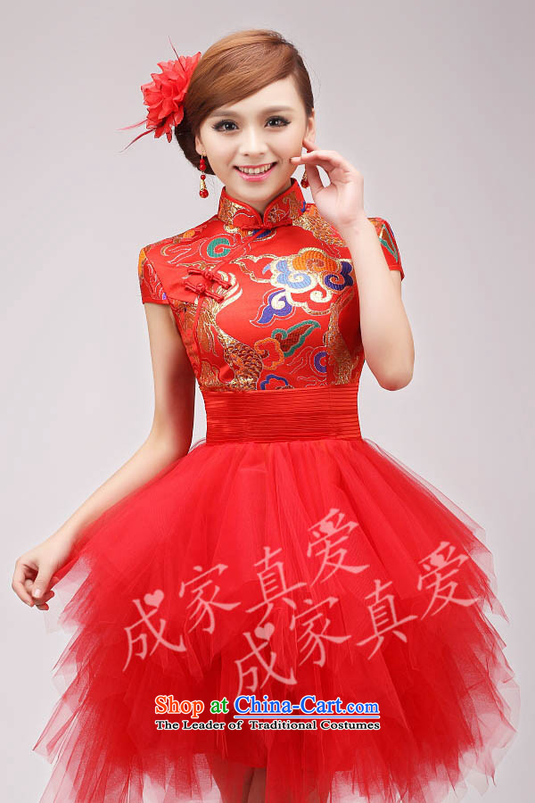 The knot true love bows services 2015 new long qipao high-lumbar bride wedding dress evening dress short of annual performance cheongsam long redL picture, prices, brand platters! The elections are supplied in the national character of distribution, so action, buy now enjoy more preferential! As soon as possible.