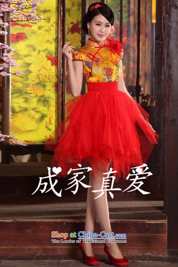 The knot true love bows services 2015 new long qipao high-lumbar bride wedding dress evening dress short of annual performance cheongsam long red L picture, prices, brand platters! The elections are supplied in the national character of distribution, so action, buy now enjoy more preferential! As soon as possible.