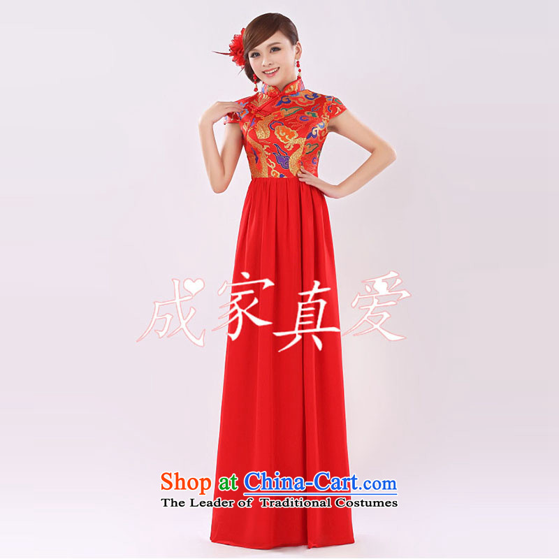 The knot true love bows services 2015 new long qipao high-lumbar bride wedding dress evening dress short of annual performance cheongsam long red?L