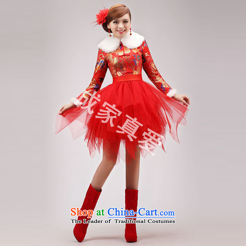 Marriages bows services 2014 new cheongsam dress short of long-sleeved red large graphics thin qipao Winter Female Red燣